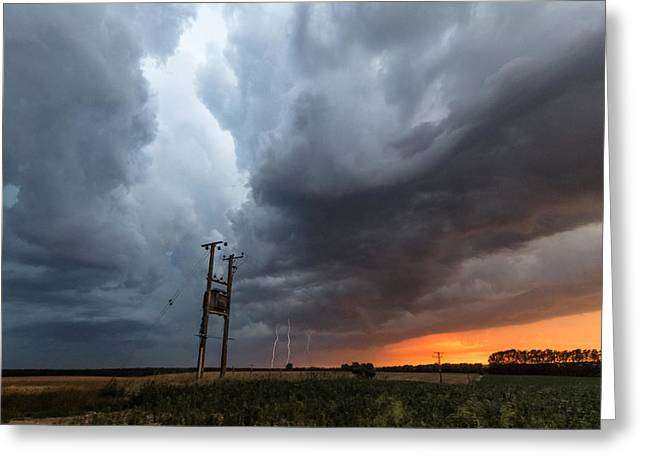 Stormfront At Sunset Greeting Card