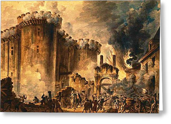 Storming Of The Bastille Greeting Card by Jean-Pierre Houel