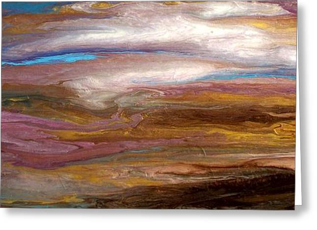Storms At Sunset / Original Skyscape Painting Greeting Card