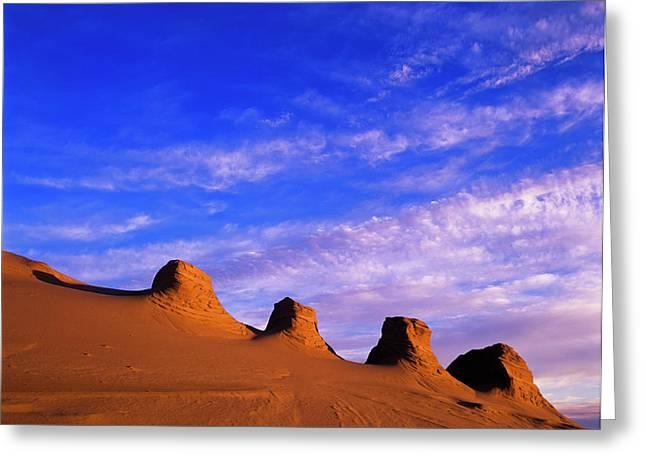 Storms Carve Sand Dunes In Peaks Greeting Card