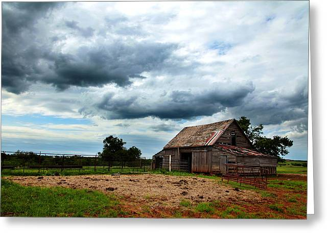 Storms Loom Over Barn On The Prairie Greeting Card