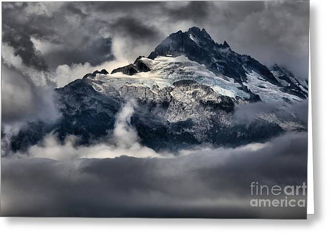 Storms Over Jagged Peaks Greeting Card by Adam Jewell