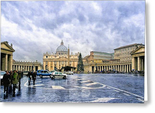 Storms Over St Peter's Basilica In Rome Greeting Card by Mark E Tisdale