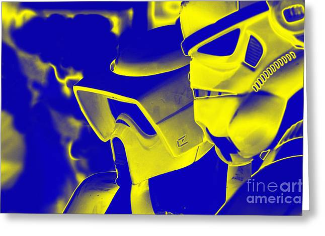 Stormtrooper And Biker Scout Greeting Card by Micah May
