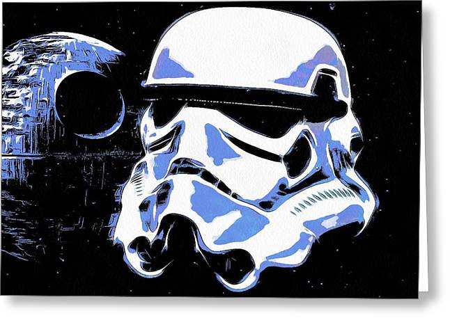 Stormtrooper Helmet And Death Star Greeting Card