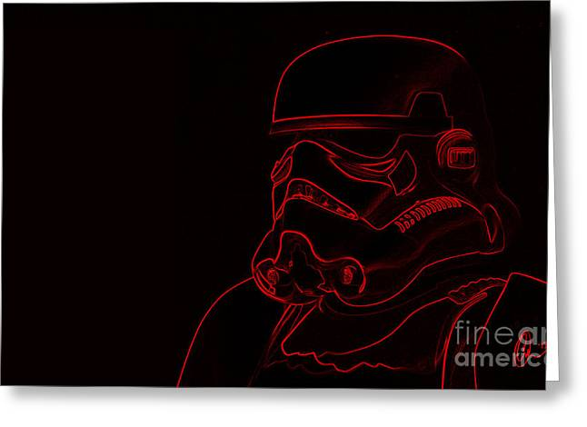Greeting Card featuring the digital art Stormtrooper In Red by Chris Thomas