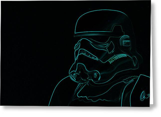 Greeting Card featuring the digital art Stormtrooper In Teal by Chris Thomas