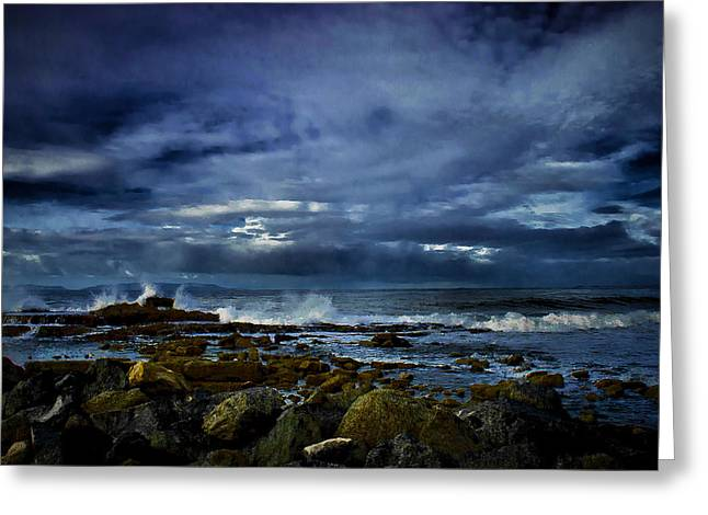 Greeting Card featuring the photograph Stormy Beach by Joseph Hollingsworth