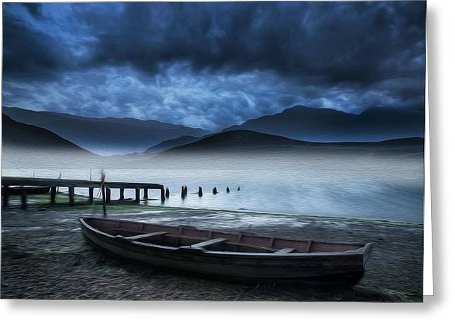 Stormy Boat Lake Mountains Landscape Digital Painting Greeting Card