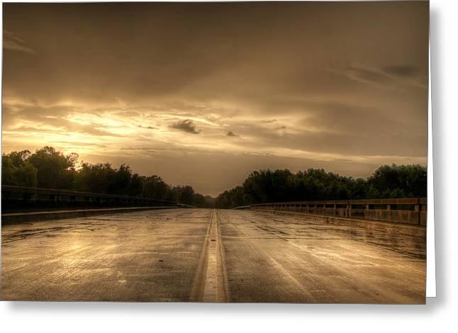 Stormy Bridge Greeting Card by David Paul Murray