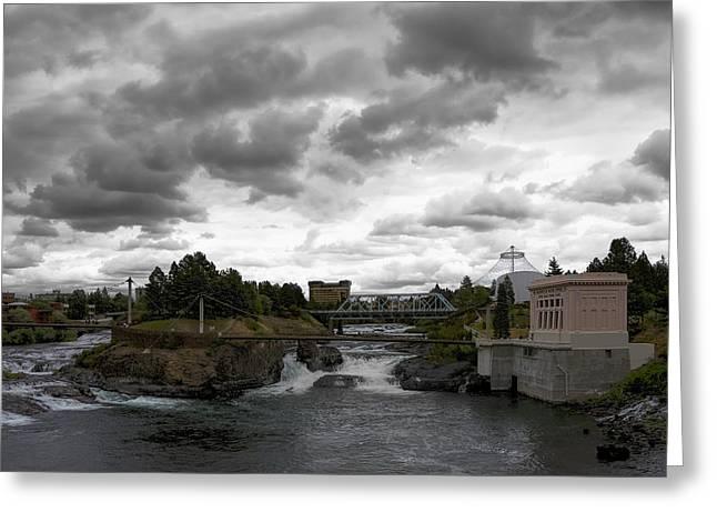 Stormy Falls Of Spokane Greeting Card