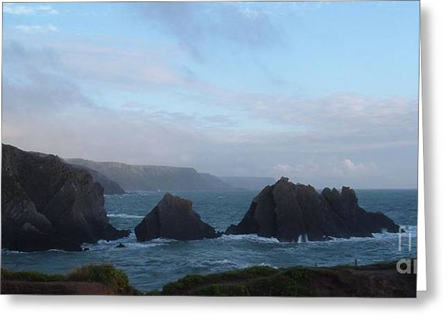 Hartland Quay Storm Greeting Card by Richard Brookes