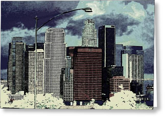 stormy Los Angeles from the freeway Greeting Card by Jodie Marie Anne Richardson Traugott          aka jm-ART