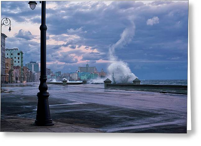 Stormy Malecon Greeting Card