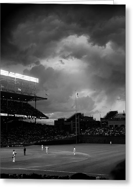 Stormy Night At Wrigley Field Greeting Card