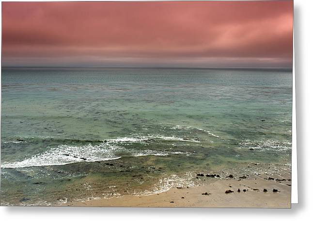 Stormy Ocean Panorama Greeting Card