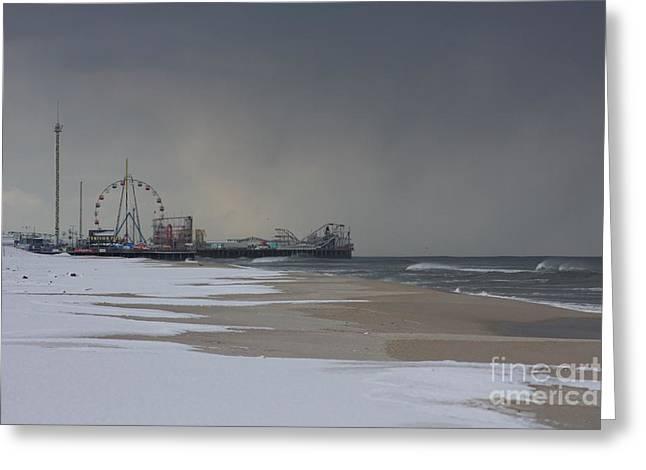 Stormy Piers Greeting Card by Laura Wroblewski