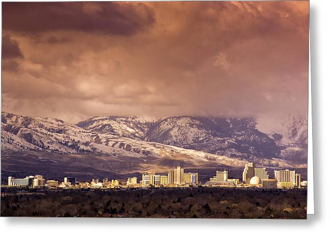 Stormy Reno Sunrise Greeting Card by Janis Knight