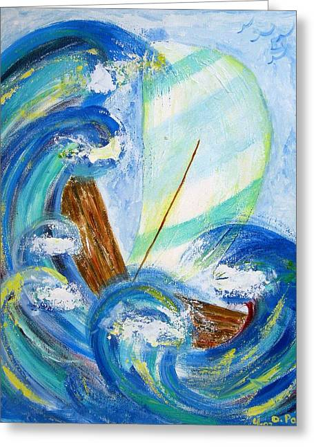 Stormy Sails Greeting Card by Diane Pape