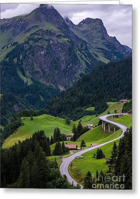 Stormy Village Of Schrocken - Austrian Alps  Greeting Card by Gary Whitton