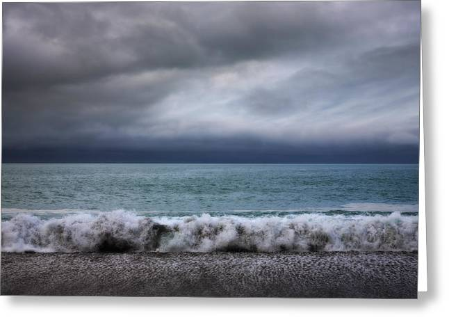 Stormy Sea And Sky Square Greeting Card by Colin and Linda McKie