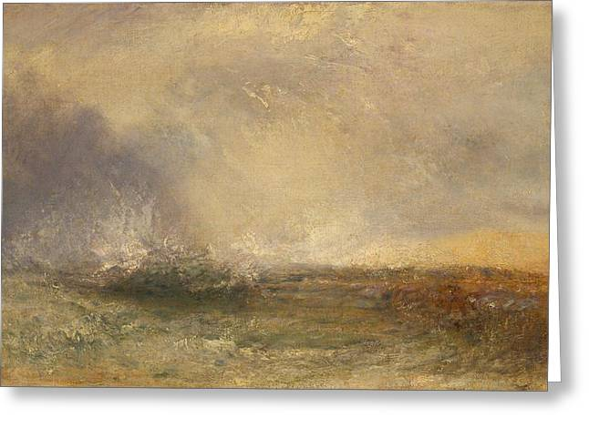 Stormy Sea Breaking On A Shore Greeting Card by JMW Turner