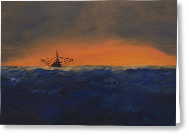 Greeting Card featuring the painting Stormy Sea by J Cheyenne Howell