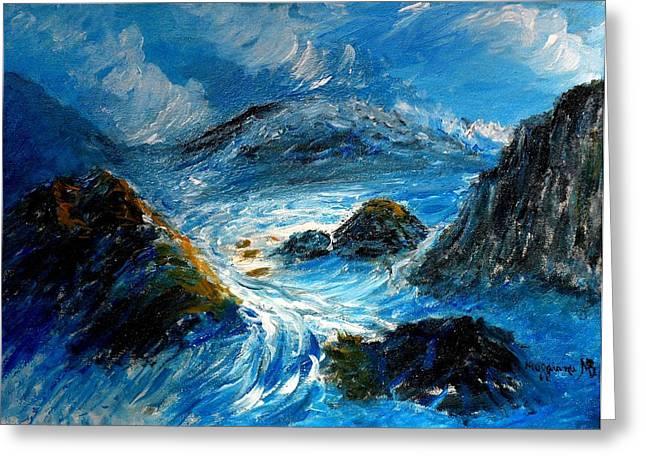 Stormy Sea Greeting Card by Mauro Beniamino Muggianu