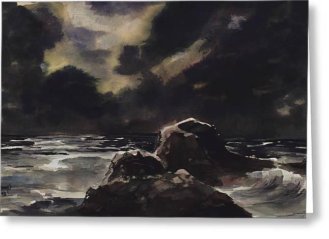 Stormy Sea Greeting Card by Sam Sidders