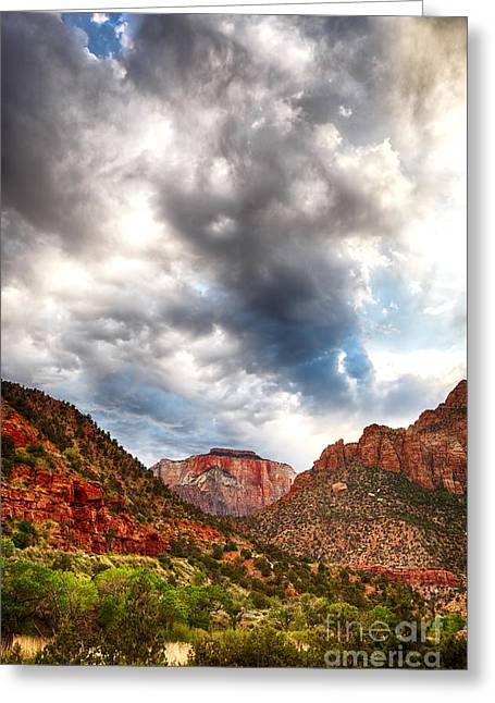 Stormy Skies In Zion Hdr Greeting Card by Jane Rix