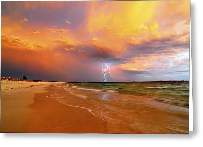 Stormy Skies - Lightning Storm In Esperance Greeting Card by Sally Nevin