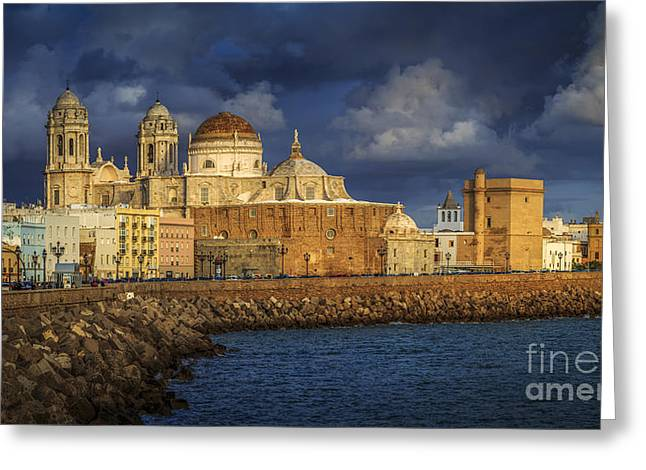 Stormy Skies Over The Cathedral Cadiz Spain Greeting Card