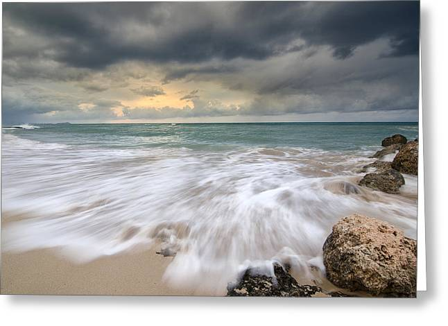 Stormy Sky And Ocean Sunrise Greeting Card by Tin Lung Chao