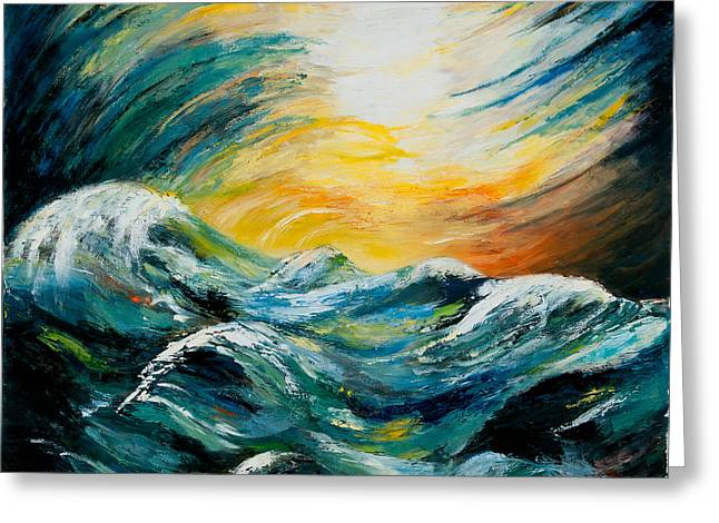 Stormy-stormy Sea Greeting Card by Larry Martin