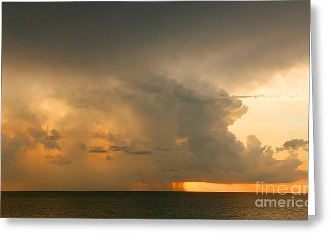 Stormy Sunset Greeting Card by Mariarosa Rockefeller