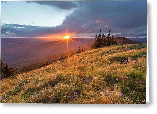 Stormy Sunset Over The Whitefish Range Greeting Card by Chuck Haney