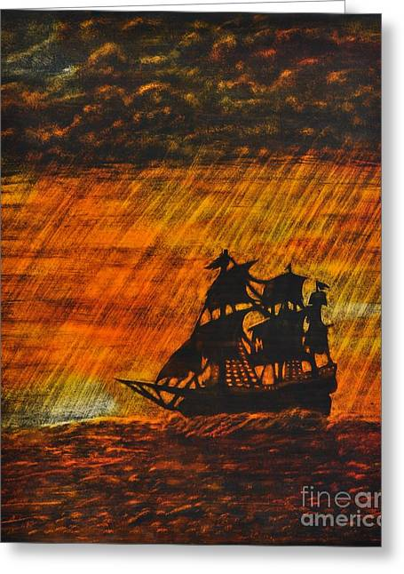 Stormy Sunset Greeting Card by Valerie Lynn