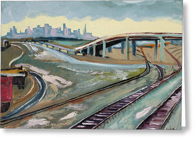 Greeting Card featuring the painting Stormy Train Tracks And San Francisco  by Asha Carolyn Young