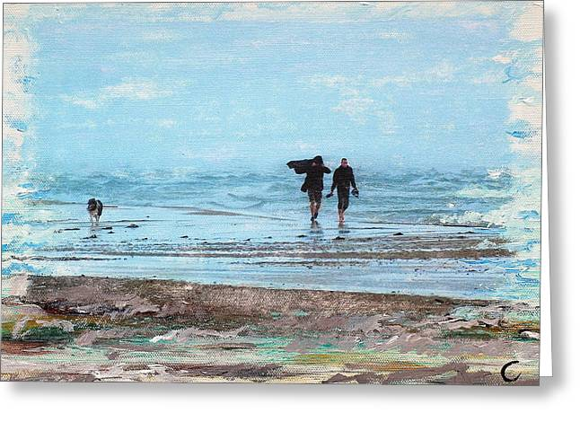 Stormy Walk At Grenen Greeting Card by Cecilia Uneland