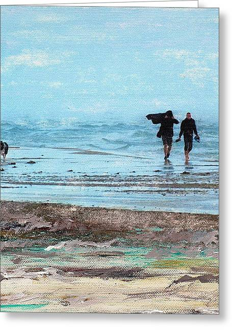 Stormy Walk At Grenen Square Greeting Card by Cecilia Uneland