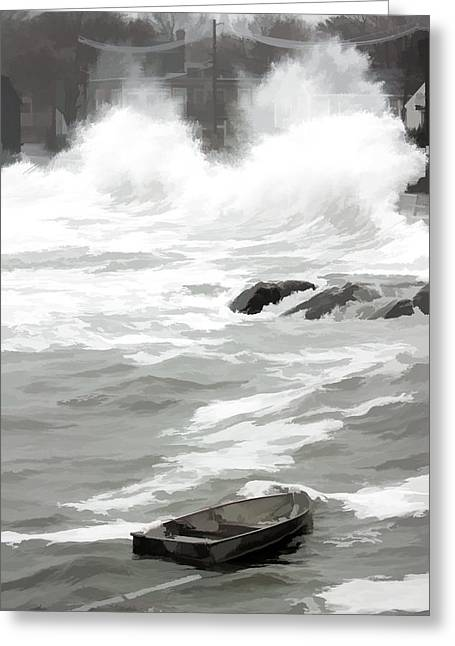 Greeting Card featuring the photograph Stormy Waves Pound The Shoreline by Jeff Folger