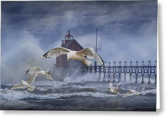 Stormy Weather At The Grand Haven Lighthouse Greeting Card by Randall Nyhof
