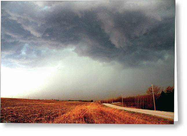 Stormy Weather In Otoe County Greeting Card by Christine Belt