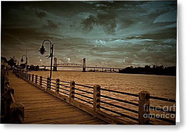 Stormy Wilmington Riverwalk  Greeting Card