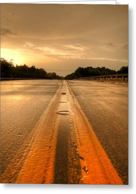 Stormy Yellow Lines Greeting Card by David Paul Murray