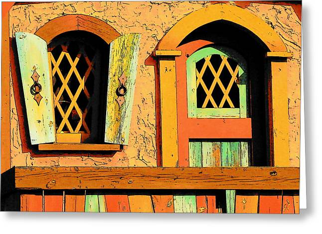 Storybook Window And Door Greeting Card by Rodney Lee Williams