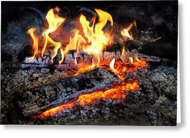 Stove - The Yule Log  Greeting Card by Mike Savad