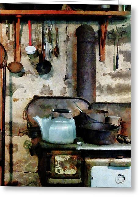 Stove With Tea Kettle Greeting Card by Susan Savad