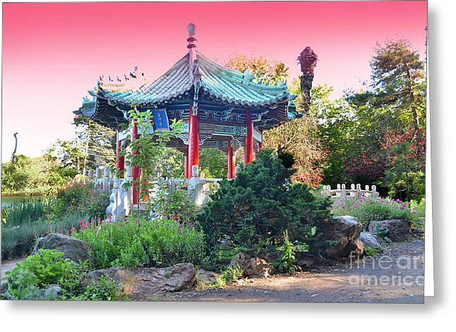 Stow Lake Pagoda In Golden Gate Park In San Francisco Greeting Card by Jim Fitzpatrick