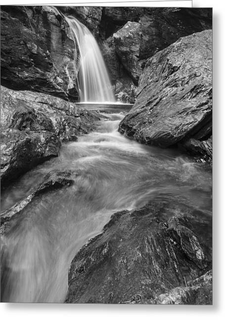 Stowe Vermont Waterfall Landscape Black And White Greeting Card
